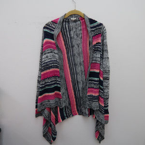 Eyeshadow Open Front Asymmetric Cardigan Sweater